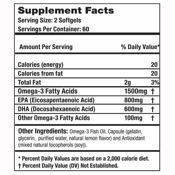 Dioxyme Omega-3 Nutrition Label